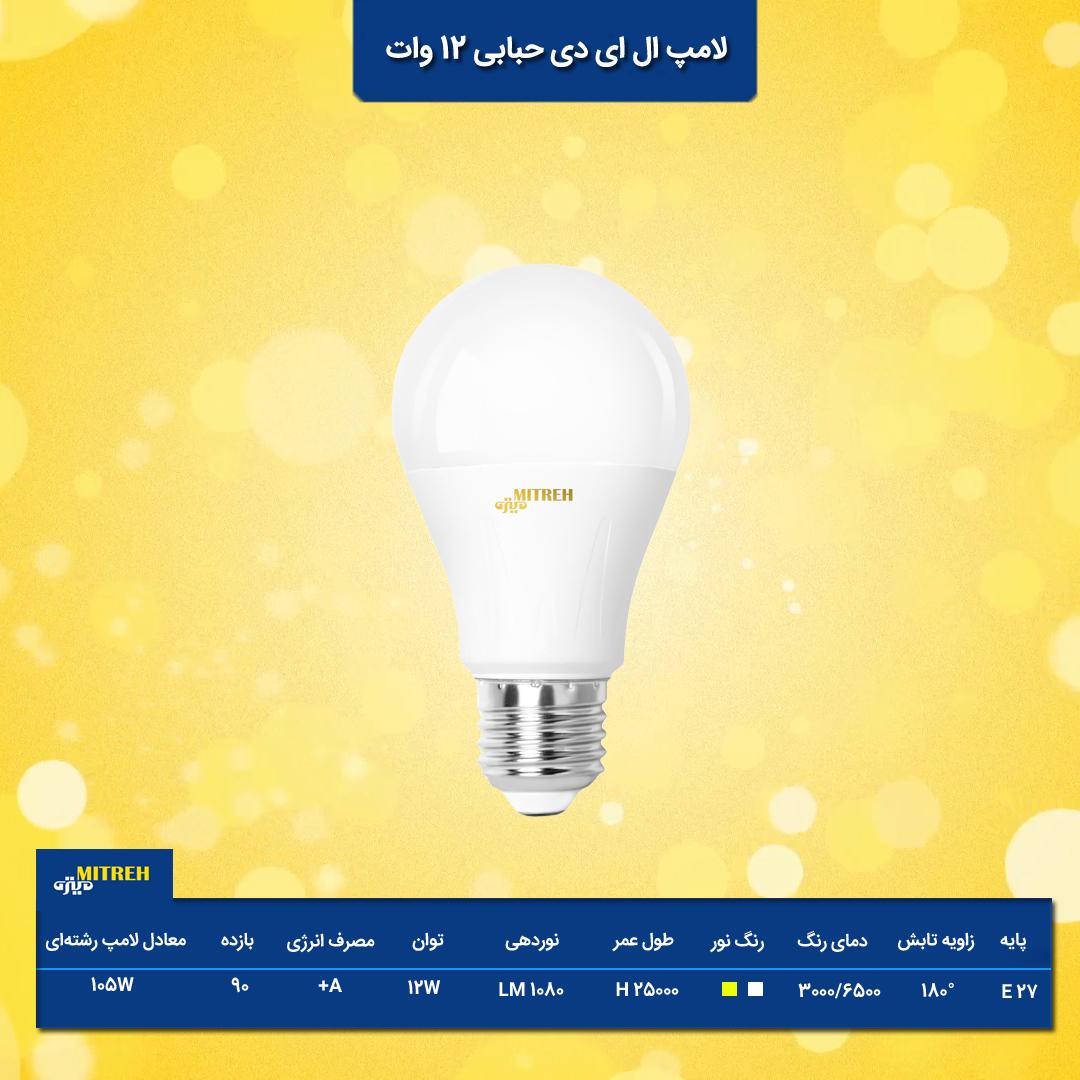 لامپ 12 وات ال ای دی