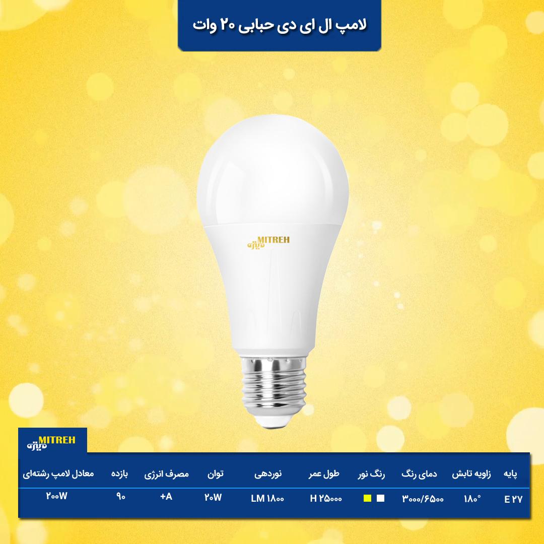 لامپ ال ای دی حبابی 20